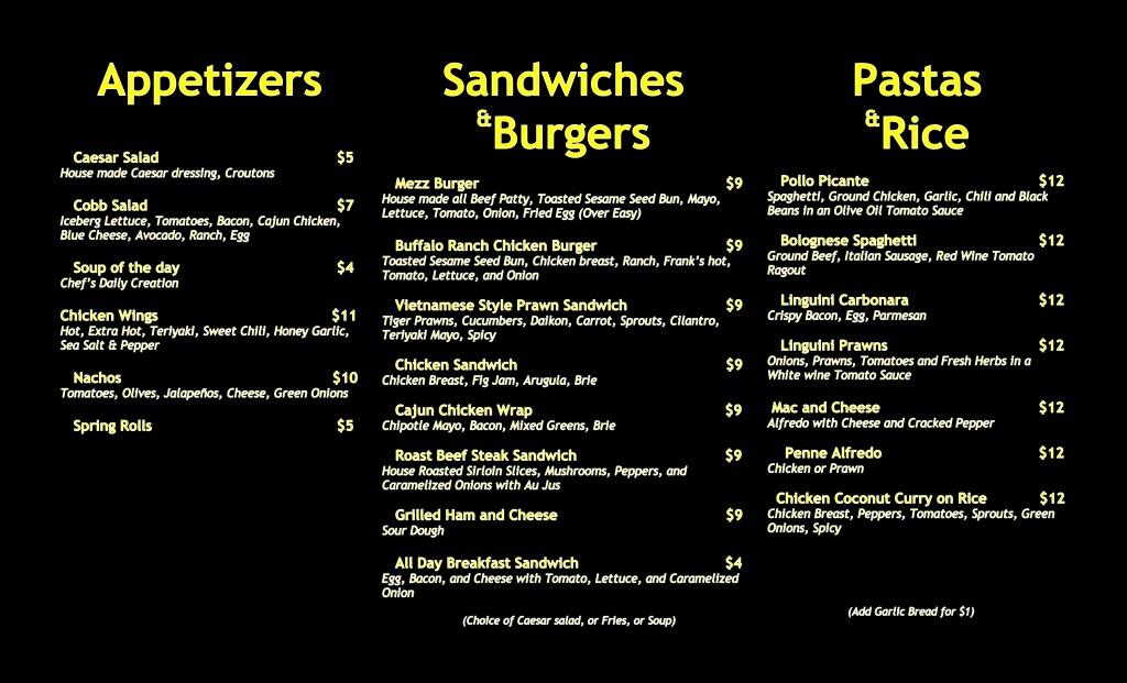 menu mezz